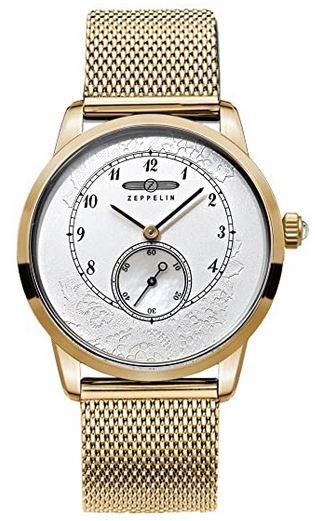 montre automatique chronographe pour femme de la marque Zeppelin entierement compose dacier inoxydable dore avec un cadran blanc nacre