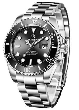 montre automatique pour homme de la marque Bersigar cadran noir et bracelet en acier inoxydable