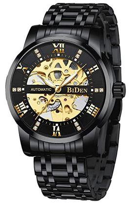 montre automatique pour homme de la marque Biden entierement noire avec son mecanisme apparent de couleur dore