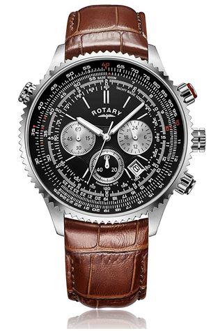 montre aviateur de la marque Rotary avec cadran noir chronographe en bracelet en cuir marron fonce modele pour homme