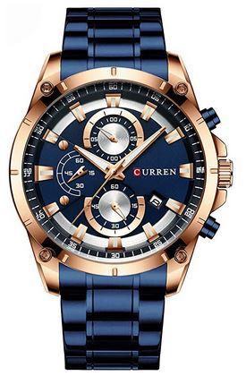 montre bleue et rose gold de la marque Curren pour homme chronographe etanche a quartz