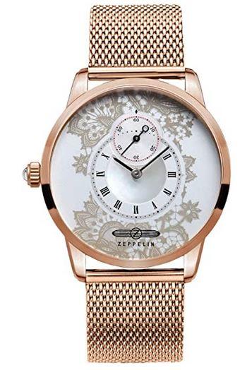 montre bracelet zeppelin pour femme en or rose avec un cadran original blanc avec des motifs a fleurs gris dores