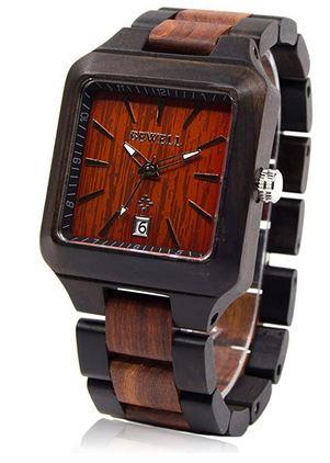 montre carre originale en bois de santal noir de la marque Bewell destinee aux hommes