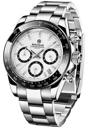 montre chronographe Bersigar destinees aux hommes avec son cadran blanc et son bracelet en maille large argentee