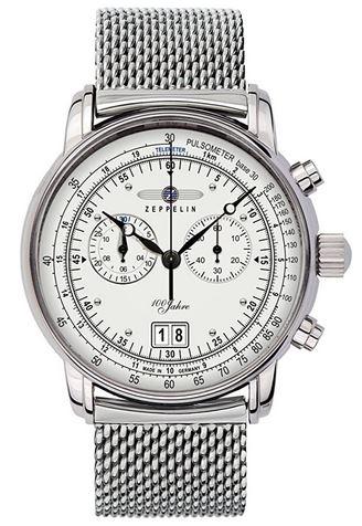 montre chronographe Zeppelin pour homme entierement en acier inoxydable argente avec bracelet en maille fine modele 7690M1 analogique a quartz