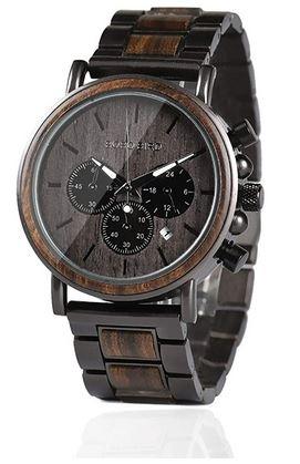 montre chronographe masculine Bobo Bird en bois sombre et acier inoxydable