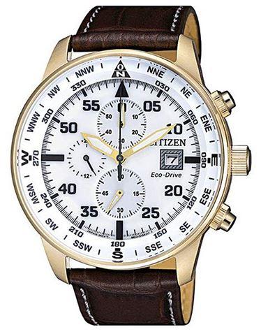 montre citizen Aviator chronographe masculin de style pilote davion vintage avec un cadran blanc et son boitier dore