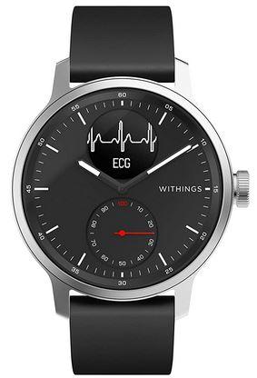 montre connectee hybride Withings Scanwatch toute noire avec mesure de la frequence cardiaque et suivi du sommeil SPO2