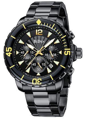 montre de couleur noir jaune et grise avec un cadran chronographe et un calendrier marque Biden pour homme