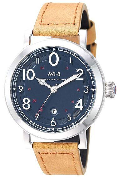 montre de la marque Avi 8 pour homme modele Lancaster Bomber et son bracelet camel en cuir veritable