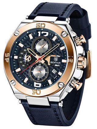 montre de la marque Benyar pour homme modele semi squelette avec boitier argente et rose gold ainsi quun bracelet en cuir bleu