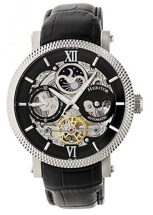 montre de la marque Heritor avec son mecanisme apparent sous un boitier en acier inoxydable couleur noir et argent