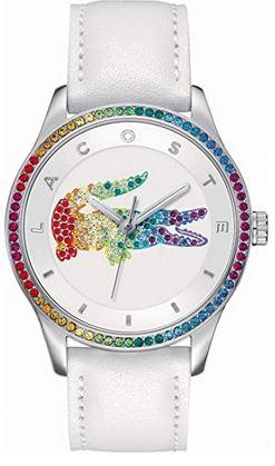 montre de la marque Lacoste assez originale destinee aux femmes bracelet en cuir blanc et boitier incruste de pierres brillantes multicolores