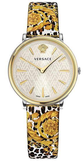 montre de la marque Versace pour femme modele VBP120017 avec un bracelet aux fleurs dautomne et un cadran nacre entoure dacier dore