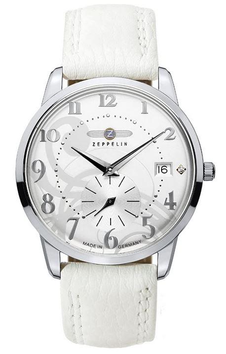montre de la marque Zeppelin destinee aux femmes et son bracelet en cuir blanc modele 7337 1 a quartz