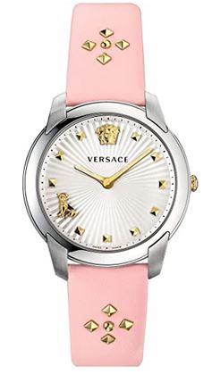 montre de la marque luxueuse Versace destinee aux femmes avec un bracelet en cuir rose et un cadran blanc