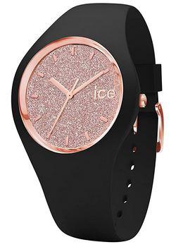 montre de la marque suisse Ice Watch en silicone noir avec un cadran a paillette rose gold