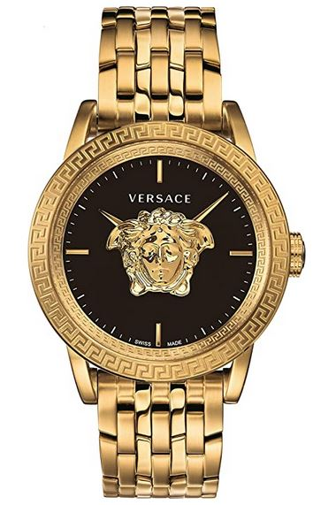 montre de luxe du fabricant italien Versace modele dore et noir avec le logo de la marque couleur or au centre du cadran
