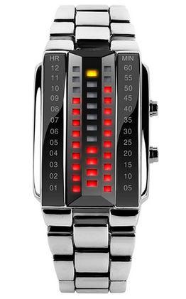 montre digitale a LED pour homme avec une maniere tres originale de lire lheure