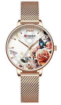 montre en acier inoxydable dore avec un cadran a fleurs colorees de la marque Curren pour femme