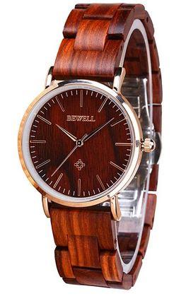 montre en bois de Santal rouge pour femme de la marque Bewell
