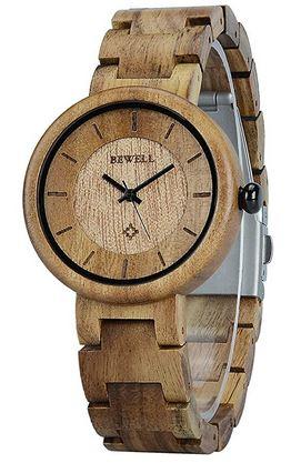 montre en bois de la marque Bewell pour femme avec un petit cadran rond et un fermoir en acier inoxydable