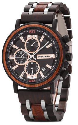montre en bois de la marque Bobo Bird modele S18 1 chronographe en bois de santal pour homme avec les details du cadran rose gold