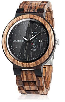 montre en bois de marque Bobo Bird avec cadran rond sur fond noir et bracelet en bambou