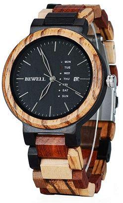 montre en bois de santal noir et bois de zebre noir pour homme de la marque Bewell