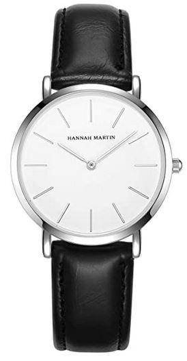 montre feminine Hannah Martin avec bracelet en cuir noir et cadran blanc