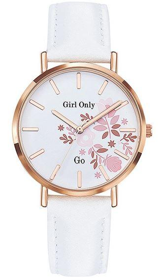 montre feminine faite dun bracelet en cuir blanc dun boitier en acier dore et dun cadran a fleurs roses marque Go Girl Only