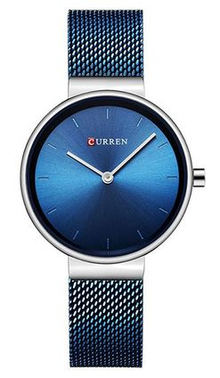 montre feminine minimaliste entierement bleue de la marque Curren