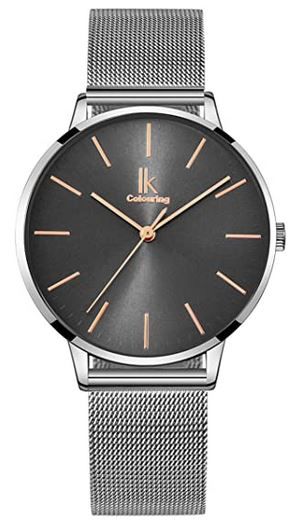 montre grise foncee de la marque Alienwork pour femme avec cadran fonce et bracelet en acier couleur argent