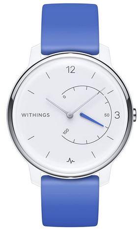 montre hybride connectee Move ECG avec un bracelet bleu et cadran blanc de la marque Withings tracker de fitness de sommeil GPS et autres fonctionnalites
