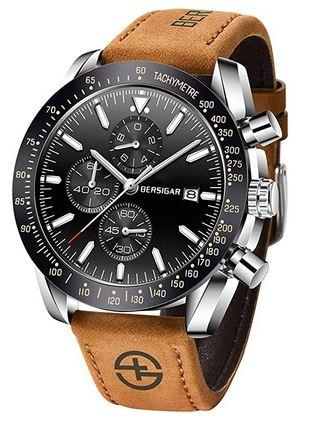 montre masculine Bersigar avec un cadran noir et un bracelet en cuir marron clair chronograph a quartz