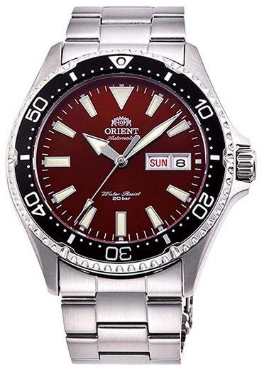 montre masculine a aiguilles de la marque Orient modele RA AA0003R19B en acier inoxydable avec cadran de couleur bordeaux