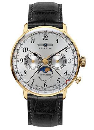 montre masculine de la marque Zeppelin avec bracelet en cuir fonce de veau boitier dore et cadran chronographe blanc