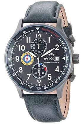 montre masculine de marque Avi 8 pour homme avec un bracelet de cuir bleu et un cadran chronographe sombre
