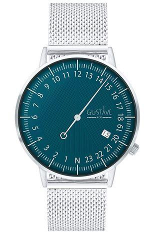 montre mono aiguille pour homme de la marque Gustave Cie avec un bracelet en mailles argentees fines et un cadran vert bleu
