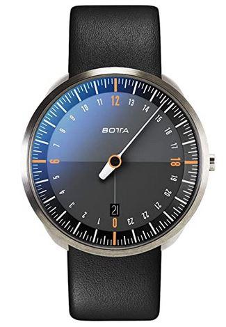 montre mono aiguille pour homme de marque Botta avec un bracelet en cuir lisse noir un cadran noir et un boitier en acier argente