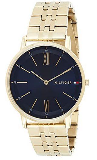 montre noire et doree analogique pour homme de marque Tommy Hilfiger modele plaque or 1791513