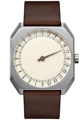 montre originale a une seule aiguille de la marque Slow pour homme modele vintage avec cadran carre et bracelet lisse marron fonce