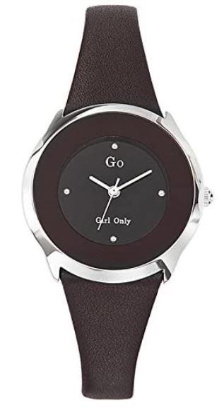 montre originale go Girl only pour femme avec son bracelet en cuir noir et un cadran couleur bordeaux