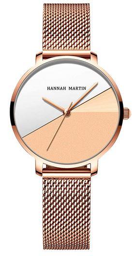 montre originale pour femme de marque Hannah Martin avec cadran divise en deux couleurs gris et orange
