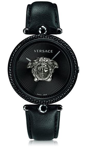 montre originale toute noire de la marque Versace avec le logo de la marque au centre du cadran modele pour femme fabriquee en Suisse