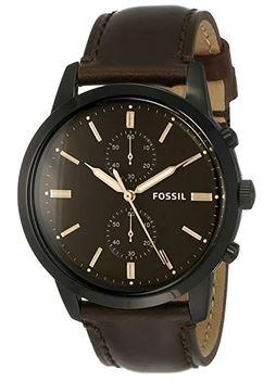 montre pilote de la marque Fossil pour homme entierement noir avec un bracelet marron fonce