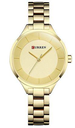 montre pour femme Curren entierement composee dacier inoxydable dore avec un bracelet fin a trois larges mailles