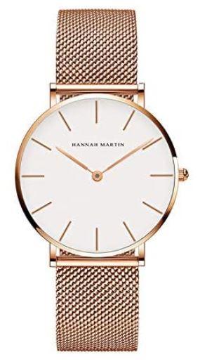 montre pour femme Hannah Martin doree avec un cadran minimaliste blanc