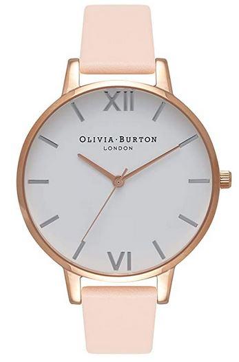 montre pour femme Olivia Burton modele analogique avec bracelet en cuir rose boitier en dore et cadran blanc