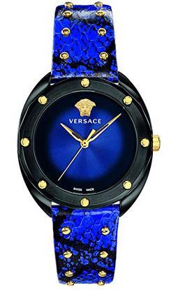 montre pour femme Versace entierement bleu nuit et doree avec un boitier noir